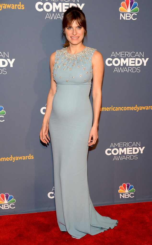 Pregnant Lake Bell Stuns In Blue Gown At The 2014 American