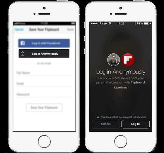 Facebook, login anonimo