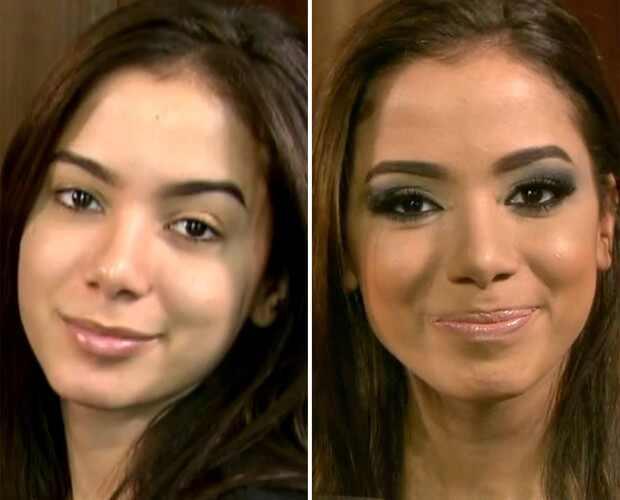 Anitta antes e depois da maquiagem