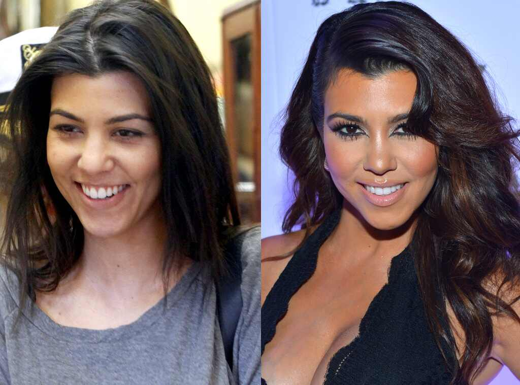Kardashians with and without makeup