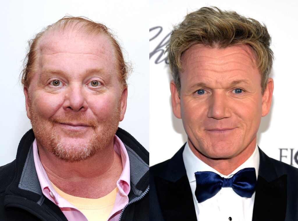 gordon ramsay vs mario batali from celeb food fights e news. Black Bedroom Furniture Sets. Home Design Ideas