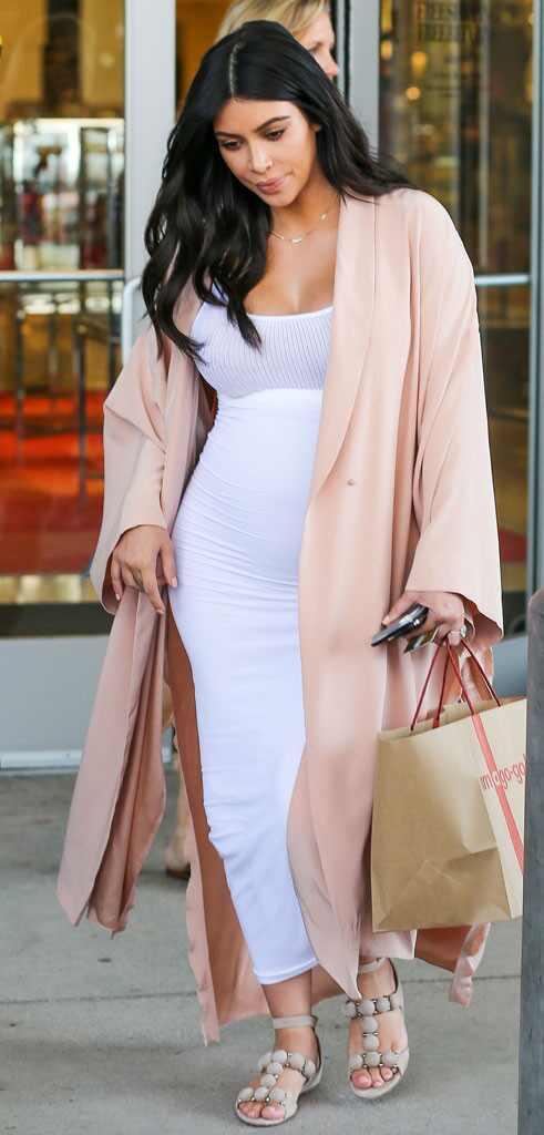 Peach & White from Kim Kardashian's Pregnancy Style