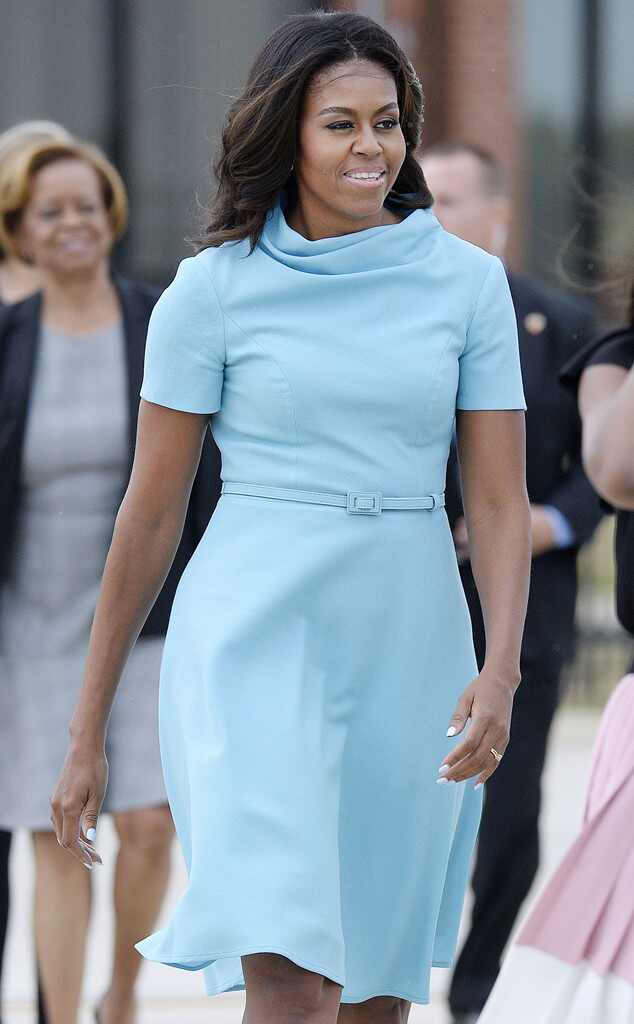 Michelle Obama Stuns In Blue Monique Lhuillier Dress While