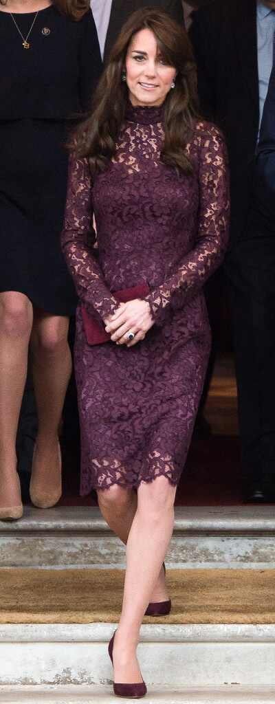 Kate Middleton Looks Gorgeous In Lace Eggplant Dress At