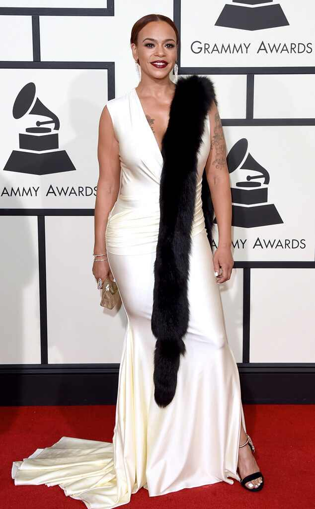 Grammys 2016: Red Carpet Arrivals Faith Evans, 2016 Grammy Awards