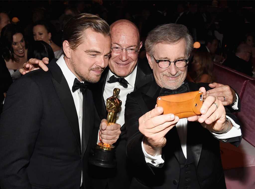 Leonardo DiCaprio, Arnon Milchan, Steven Spielberg, Oscar Party Pics