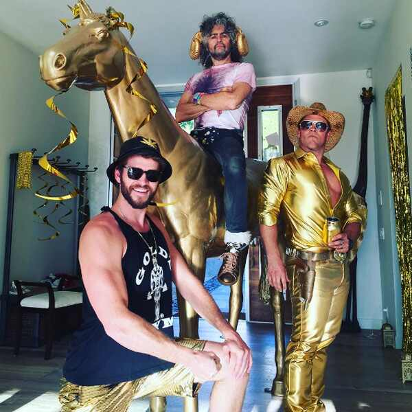 Liam Hemsworth, Luke Hemsworth, Miley Cyrus, Wayne Coyne, Birthday Party