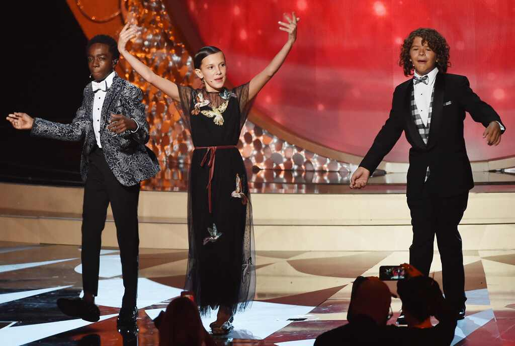 Gaten Matarazzo, Caleb McLaughlin, Millie Bobby Brown, 2016 Emmy Awards
