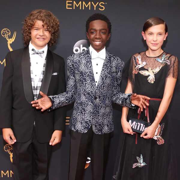Gaten Matarazzo, Caleb McLaughlin, Millie Bobby Brown, 2016 Emmy Awards, Arrivals