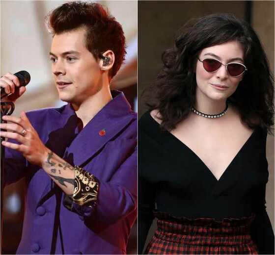 Harry Styles. Foto do site da E! Online que mostra Harry Styles beija Lorde em premiação e a internet não consegue se conter