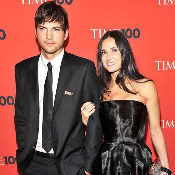 Demi Moore. Foto do site da E! Online que mostra Ashton Kutcher ficou à base de água e chá após separação de Demi Moore