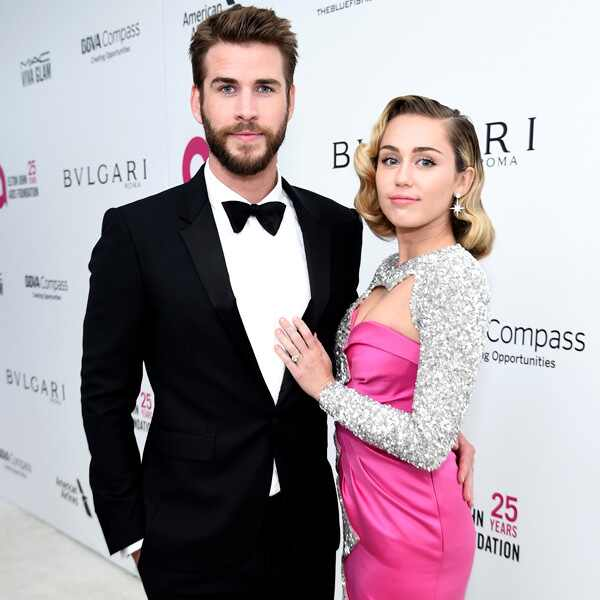 Liam Hemsworth, Miley Cyrus, 2018 Elton John Oscar Party