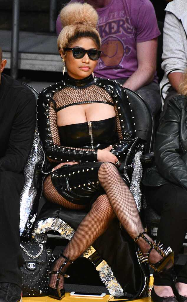 Nicki Minaj, Basketball Game, S&M leather outfit