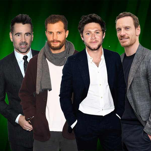 Colin Farrell, Jamie Dornan, Niall Horan, Michael Fassbender, Irish Stars Collage
