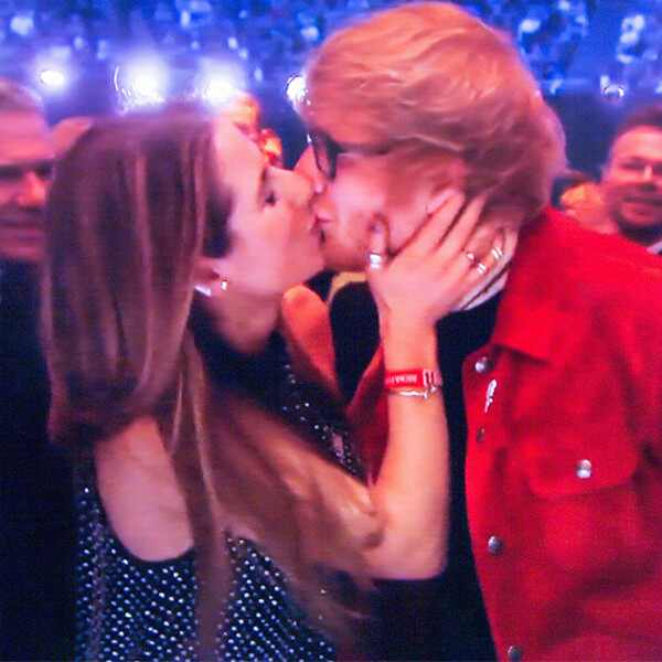 Ed Sheeran, Cherry Seaborn, Kissing at Brit Awards