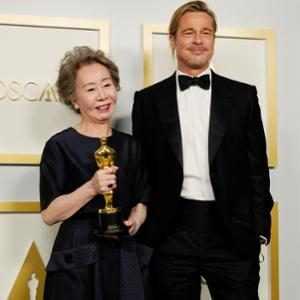 Brad Pitt, Yuh-Jung Youn, 2021 Oscars, 2021 Academy Awards, Press Room