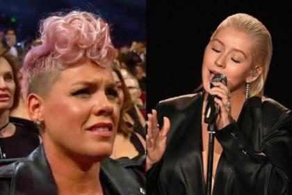 Pink explicó la rara actitud que tuvo durante la presentación de Christina Aguilera en los AMA's