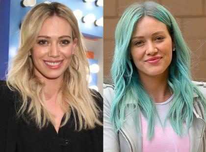 Hilary Duff pinta o cabelo de azul turquesa