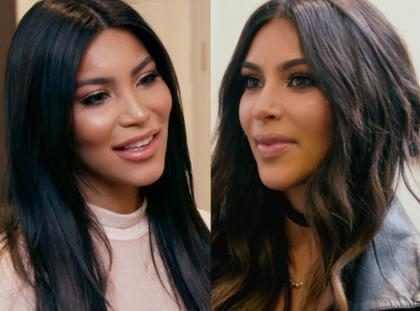 OMG! Kim Kardashian se encontró frente a frente con su doble (+ Video)