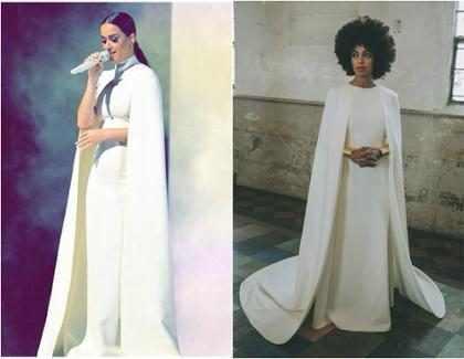 Katy Perry usa look parecido com o do casamento de Solange Knowles, no Grammy