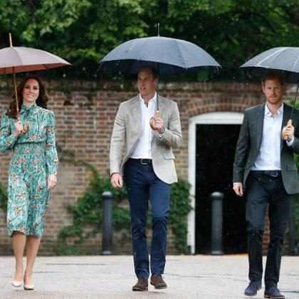 Príncipes William e Harry e Kate Middleton visitam jardim em homenagem à princesa Diana