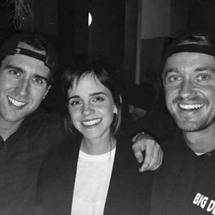 Emma Watson, Tom Felton e Matthew Lewis fazem reunião de Harry Potter