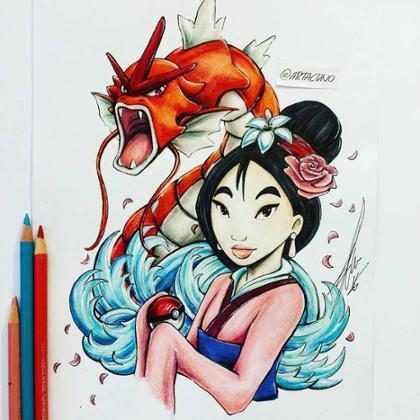 Artista desenha Pokémons com personagens da Disney