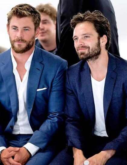 Chris Hemsworth y Sebantian Stan en el desfile Primavera/Verano 2018 de BOSS Menswear