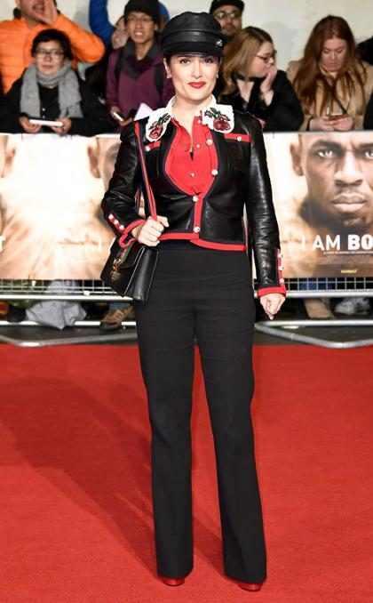 Salma Hayek en la premier mundial de I Am Bolt en Londres