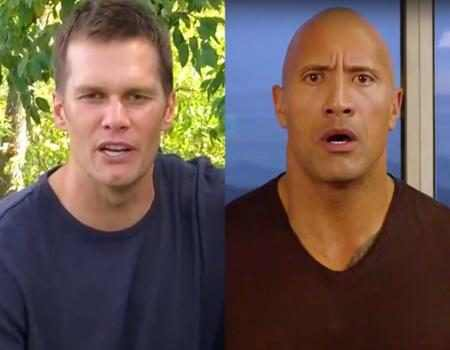 Dwayne The Rock Johnson Is Very Unimpressed by Tom Brady's Impression of Him